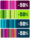 Set of elegant striped sales tags Stock Images
