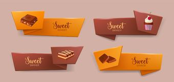 Set of elegant tape or ribbon banners with delicious desserts or tasty sweet. Courses - cookie, chocolate, cupcake. Colorful decorative elements. Vector Royalty Free Stock Images