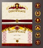 Elegant template of certificate, diploma. Set of elegant templates of diploma with lace ornament, ribbon, wax seal, drapery fabric, badges, place for text Stock Images