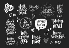 Set of elegant Valentine`s day letterings, romantic phrases, quotes and holiday wishes decorated by hearts isolated on. Black background. Monochrome festive stock illustration