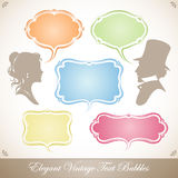 A Set Elegant Vintage Text Bubbles Stock Photo