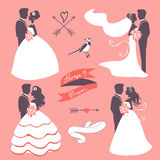 Set of elegant wedding couples in silhouette Royalty Free Stock Photos