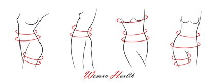 Set of elegant woman silhouettes in a linear sketch style intimate hygiene, woman health, skin and body care, diet, fitness etc royalty free stock photography
