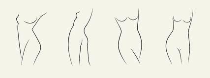 Set of elegant woman silhouettes in a linear sketch style intimate hygiene, woman health, skin and body care, diet, fitness etc stock photos