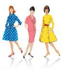 Set of elegant women - retro Royalty Free Stock Photography