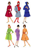 Set of elegant women - retro style fashion models. Spring or fall seasons. Color image Stock Images