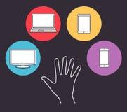 Set elektronika przyrządu ikony Zdjęcia Stock