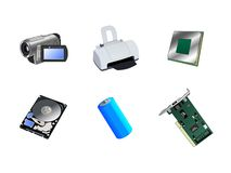 Set Elektronikikonen Lizenzfreie Stockfotos