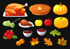 Set of element for Happy Thanksgiving Day on black. Badge, icon, template an apple, cranberries, pumpkin pie, leaf, turkey, sous, Stock Images