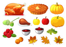 Set of element for Happy Thanksgiving Day on white background. Badge, icon, template an apple, cranberries, pumpkin pie, leaf, tur Royalty Free Stock Photos