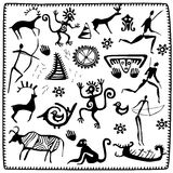 Set elements African petroglyph art Stock Photography