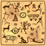 Set elements African petroglyph art old Stock Images