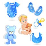 Set of elements for a baby boys Royalty Free Stock Photography