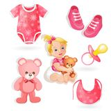 Set of elements for a baby girls Stock Photos