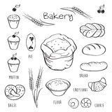 Set of elements for the bakery. Stock Photography