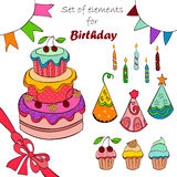 Set of elements for birthday Stock Images