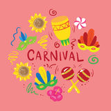 Set of elements about brazilian carnival Royalty Free Stock Photography