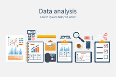 Set of elements for business planning. Vector. Analysis of concept in flat design. Process research financial growth, graph statistics, data analysis, business Stock Photography