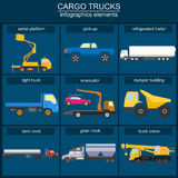 Set of elements cargo transportation: trucks, lorry for creating. Your own infographics or maps. Vector illustration Stock Image