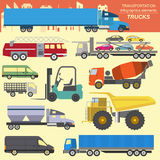 Set of elements cargo transportation: trucks, lorry for creating. Your own infographics or maps. Vector illustration Stock Photography