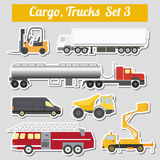 Set of elements cargo transportation: trucks, lorry for creating Stock Photo