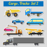 Set of elements cargo transportation: trucks, lorry for creating Stock Photos