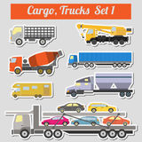 Set of elements cargo transportation: trucks, lorry for creating Stock Images