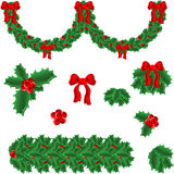 Set of elements for christmas. One vector garland and frame's elements for holly christmas decoration Stock Images
