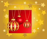 Set of elements for Christmas design card. Abstract background with Christmas balls and golden stars. 3D  baubles for hanging. Happy New Year Royalty Free Stock Images