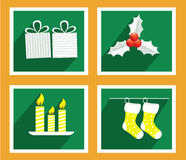 Set of elements for Christmas and New Year greeting cards Stock Photography