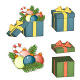 Open gift box with red bow isolated on white. Vector illustration eps 10. Royalty Free Stock Images