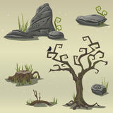 Set elements for computer game location swamp Stock Photos