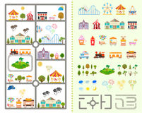 Set of elements for creating your own city. Elements of the modern city of entertainment. Design your own town. Map elements for your pattern, web site or other Stock Image