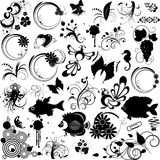 Set of elements for design. Floral. fish, butterfly, abstract and  other, black, tattoo, vector, isolated on white, eps 8 format Stock Images