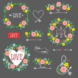 Set of elements for design - arrows, hearts, love,  circlet of flowers Stock Photos