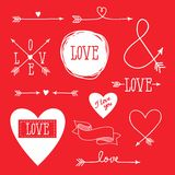 Set of elements for design - arrows, hearts, love. Vector illustration set of elements for design - arrows, hearts, love Stock Photos