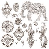 Set of elements for design. Elephant, dancers, mandalas, hamsa, flowers in the mehendi style. Set of ornate elements for design Stock Photography