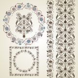 Set of elements for design. Frame, border with flowers. Royalty Free Stock Image