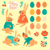 Set of elements for design Happy Easter. Royalty Free Stock Photography