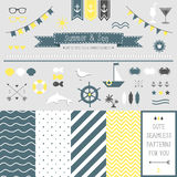 Set of elements for design. Sea and summer. stock illustration