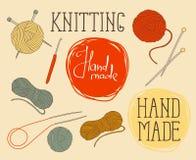 Set of elements for design - skeins of thread, needles, hook Stock Image