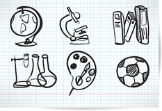 Set of elements on education in the sketch Stock Image