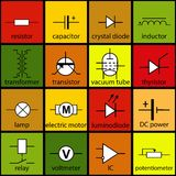 A set of 16 elements of the electrical circuit Stock Images