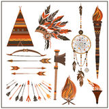 Set elements ethnic style beads, wigwam, fire, tomahawk, torch. Royalty Free Stock Photography