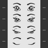 Set Elements of Female Eye Blink Royalty Free Stock Image