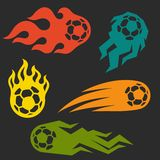 Set of elements fire soccer balls for design Royalty Free Stock Photography
