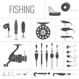 Set of elements for fishing. A set of Fishing tackle in the flat monochrome style.Fishing reel, hooks, float, fishing line, lures. Vector elements.Icons and royalty free illustration