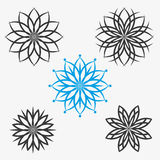 Set of elements, flowers or snowflakes Royalty Free Stock Photo