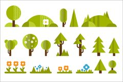 Set of elements for forest landscape: green trees, bushes, fir-trees, blooming flowers on grass. Nature theme. Flat. Set of elements for forest landscape: green vector illustration