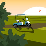 Set of elements for the game of Golf. Golf stuff set isolated. Vector golf car Royalty Free Stock Images